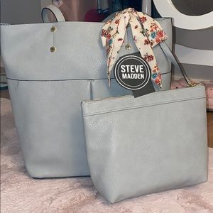Steve Madden Tote With Cosmetic Case & Scarf
